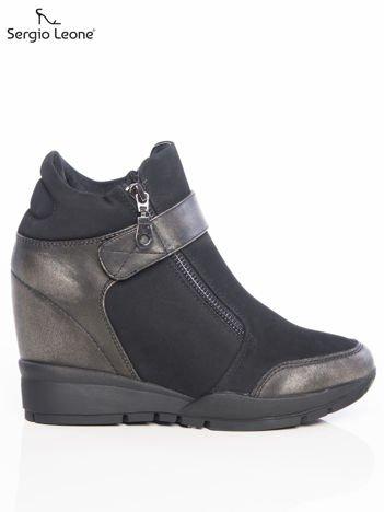 Sergio Leone czarne sneakersy z przecieranymi srebrnymi wstawkami, suwakiem i zapięciem na rzep
