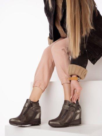 Sergio Leone czarno-khaki przecierane sneakersy z suwakiem i zapięciem na rzep