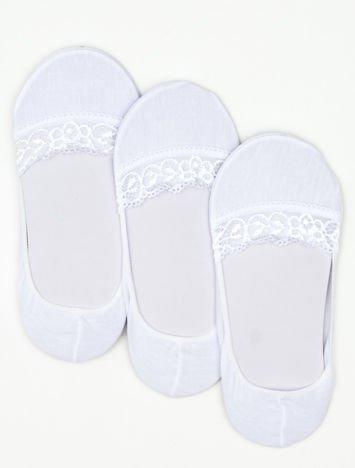 Skarpetki damskie białe z koronką 3-pak