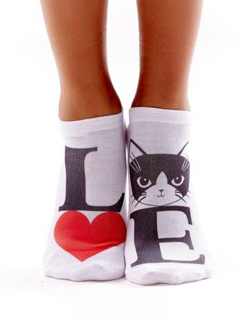 Skarpety damskie stopki z kotem