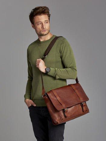 Skórzana torba męska aktówka z klapą ciemnobrązowa
