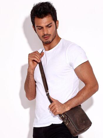 Skórzana torba męska na ramię ciemnobrązowa