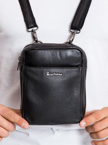 Skórzana torba męska z klapką czarna