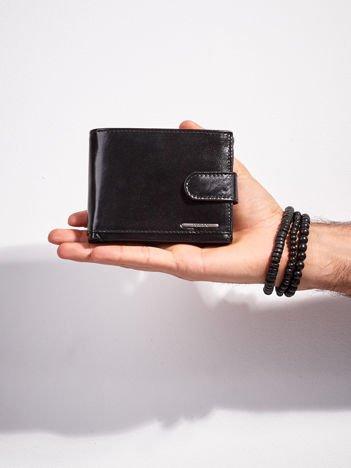 Skórzany portfel męski z zapięciem czarny