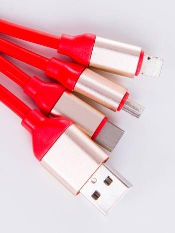 Smart Fit Oryginalny Kabel 3 w 1 MICRO ,LIGHTNING ,USB-C 120 cm czerwony