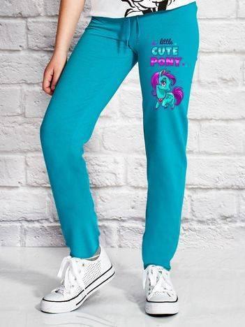 Spodnie dresowe dla dziewczynki LITTLE CUTE PONY zielone