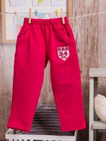 Spodnie dresowe dziewczęce z naszywką R&B 34 GIRL różowe