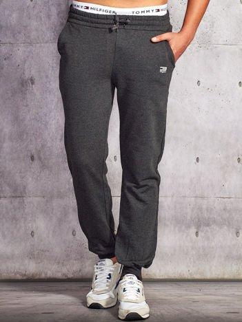 Spodnie dresowe męskie ciemnoszare ze ściągaczem