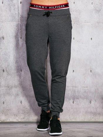 Spodnie dresowe męskie grafitowe z troczkami