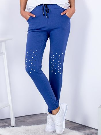 Spodnie dresowe niebieskie z troczkami i perełkami
