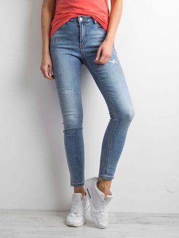 Spodnie jeansowe o kroju skinny niebieskie