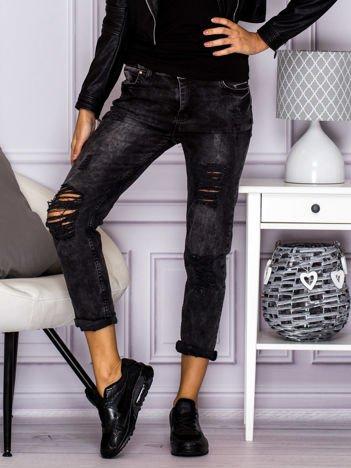 Spodnie jeansowe trashed boyfriend czarne