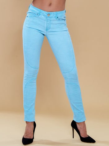 Spodnie skinny z przeszyciami miętowe
