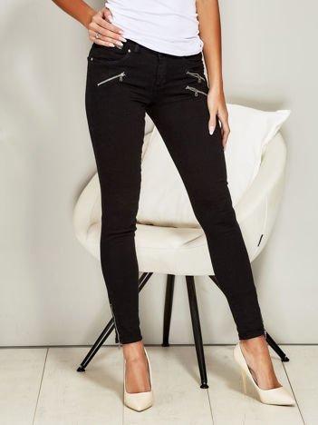 Spodnie skinny z suwakami czarne
