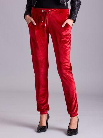 Spodnie z weluru czerwone