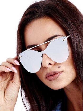 Srebrne Lusztrzane Okulary Przeciwsłoneczne MUCHY CELEBRYTKI