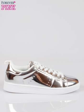 Srebrne buty sportowe faux leather Picture na grubej podeszwie