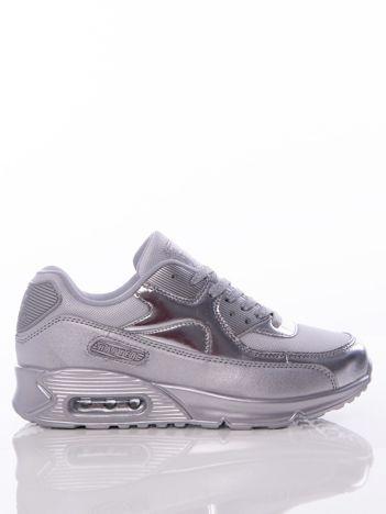 Srebrne buty sportowe z poduszką powietrzną i ażurową wstawką na przodzie cholewki