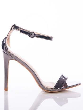 Srebrne sandały Vinceza na szpilkach zapinane w kostkach