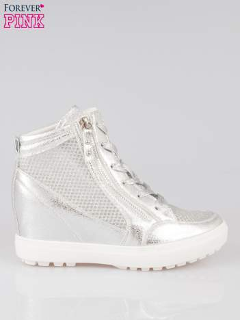 Srebrne sneakersy damskie z wężową siateczką Martina