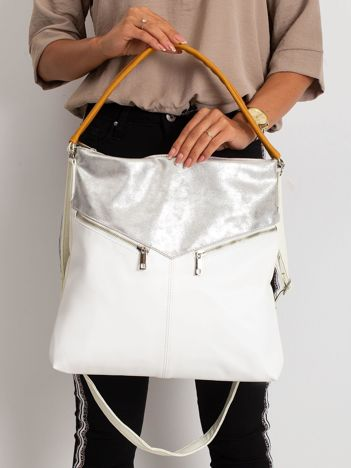 Srebrno-biała torba z ekoskóry