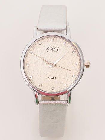 Srebrny Zegarek Damski z Ozdobną tarczą