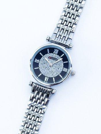 Srebrny elegancki zegarek damski na bransolecie
