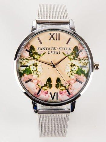 Srebrny zegarek damski KWIATY MOTYLE z bransoletą typu MESH