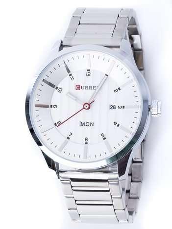 Srebrny zegarek męski na bransolecie z perłową tarczą z datownikami