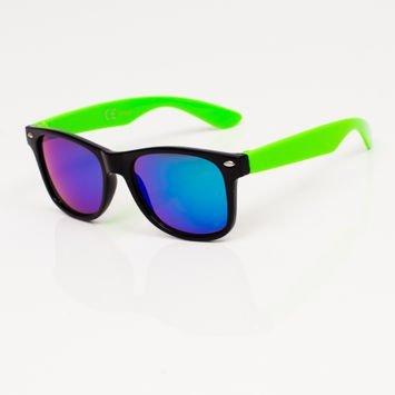Stylowe Zielone okulary dziecięce z klasyczną oprawką typu WAYFARER NERD LUSTRZANKI