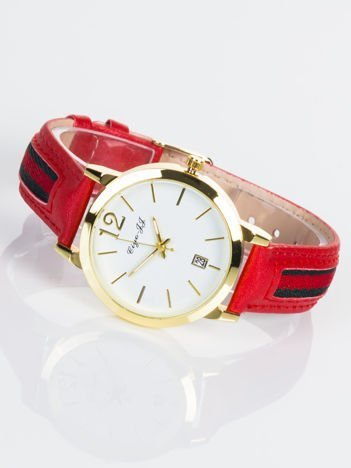 Stylowy czerwony zegarek damski z datownikiem