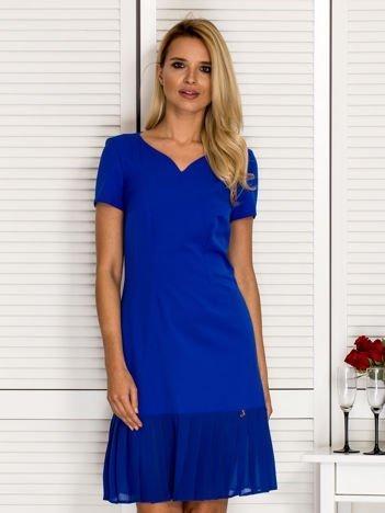Sukienka V-neck z falbanką kobaltowa
