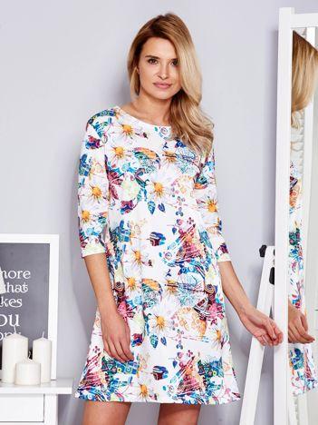 Sukienka biała w kolorowe wzory