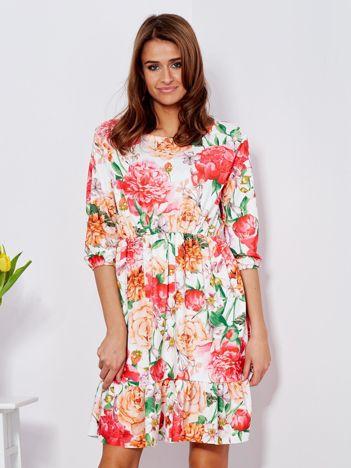 Sukienka biała w malarski kwiatowy wzór