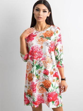 Sukienka biała z motywem floral print