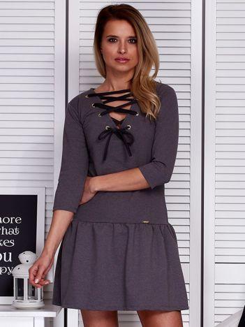 Sukienka ciemnoszara lace up z falbaną