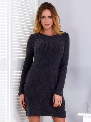 Sukienka ciemnoszara w prążek z wycięciem z tyłu