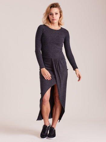 Sukienka ciemnoszara z drapowaniem
