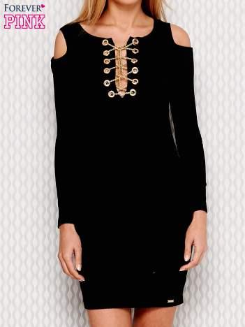 Sukienka cut out czarna z wiązaniem przy dekolcie