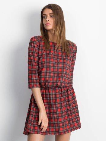 Sukienka czerwona w kratkę