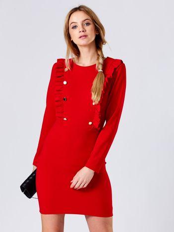 Sukienka czerwona ze złotymi guzikami i falbankami