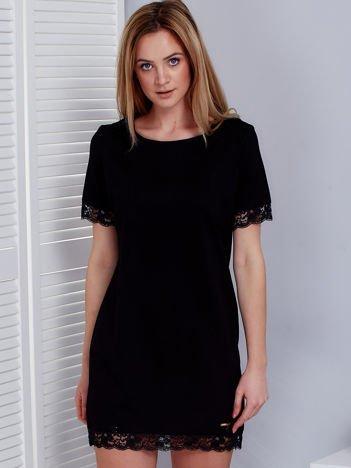 Sukienka damska czarna z koronkową lamówką