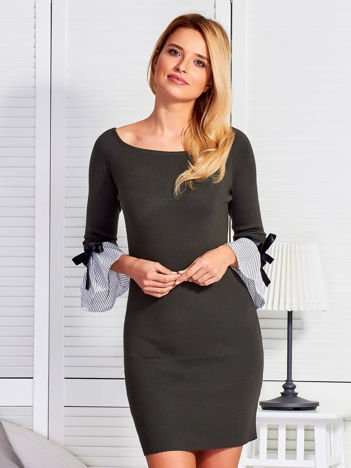 Sukienka damska z kokardkami na rękawach khaki