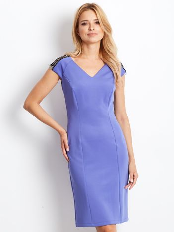 Sukienka damska z łańcuszkami na ramionach jasnofioletowa
