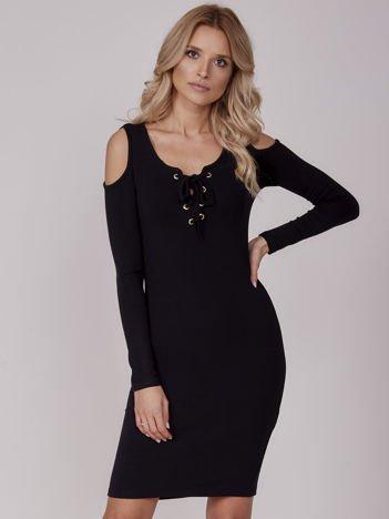 Sukienka damska z wycięciami i dekoltem lace up czarna