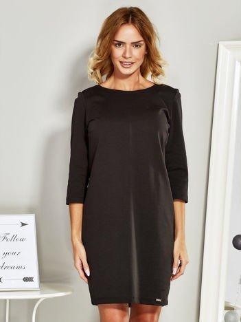 Sukienka dresowa o pudełkowym kroju czarna