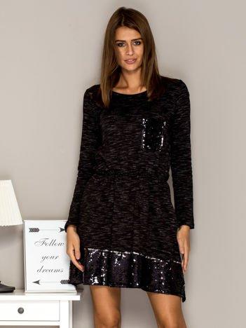Sukienka dresowa z cekinowymi wstawkami czarna
