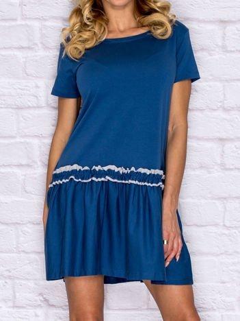 Sukienka dzienna z obniżonym stanem ciemnoniebieska
