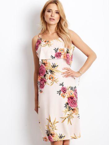 Sukienka jasnoróżowa w kolorowe kwiaty