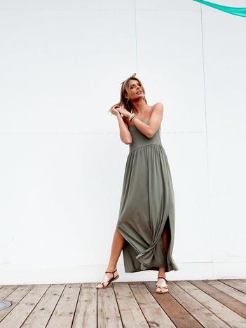 Sukienka khaki maxi bez ramiączek